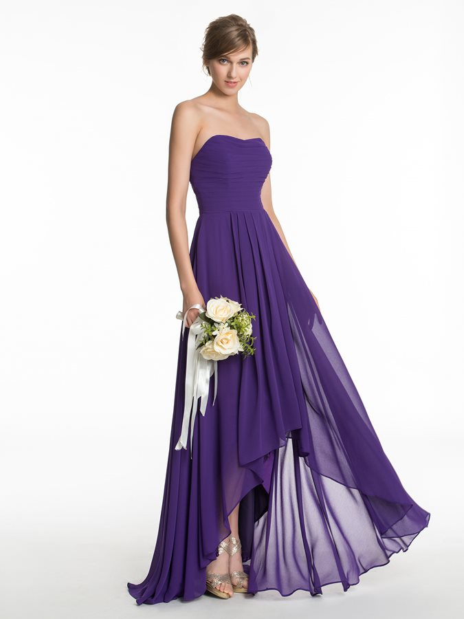 Simple Sweetheart Asymmetry Bridesmaid Dress
