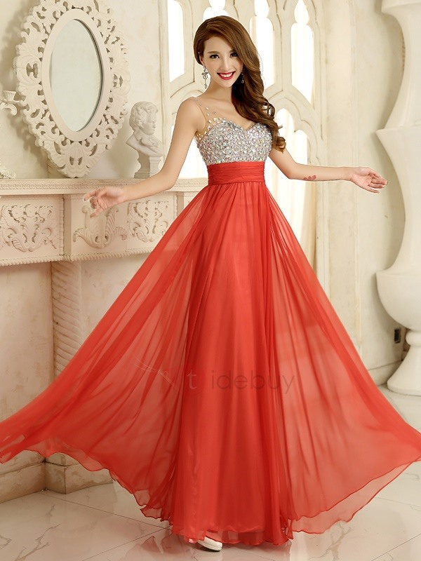 Pretty V-Neck Straps Crystal A-Line Long Prom Dress