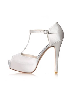 Satin Peep-Toe Stiletto Heel Wedding Shoes