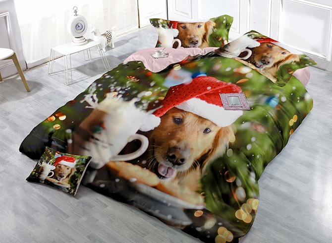 Christmas Cute Puppy 3D 4 Piece Bedding Sets