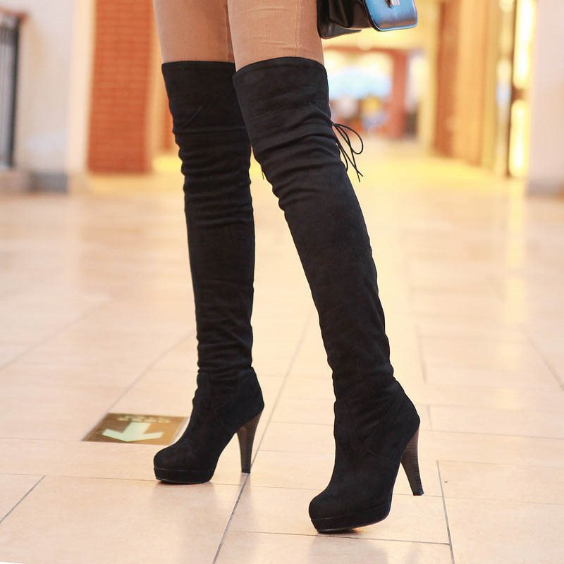 tidebuy / Suede Lace-Up Back Womens Thigh High Boots