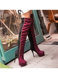 Suede Stiletto Heel Platform Thigh High Boots