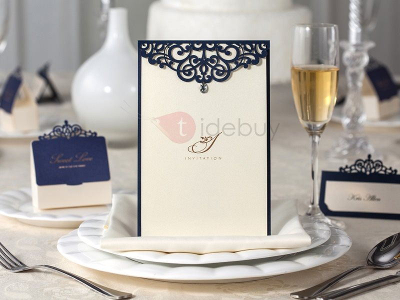 Black and White Floral Pattern Cheap Wedding Invitations (20 Pieces One Set)