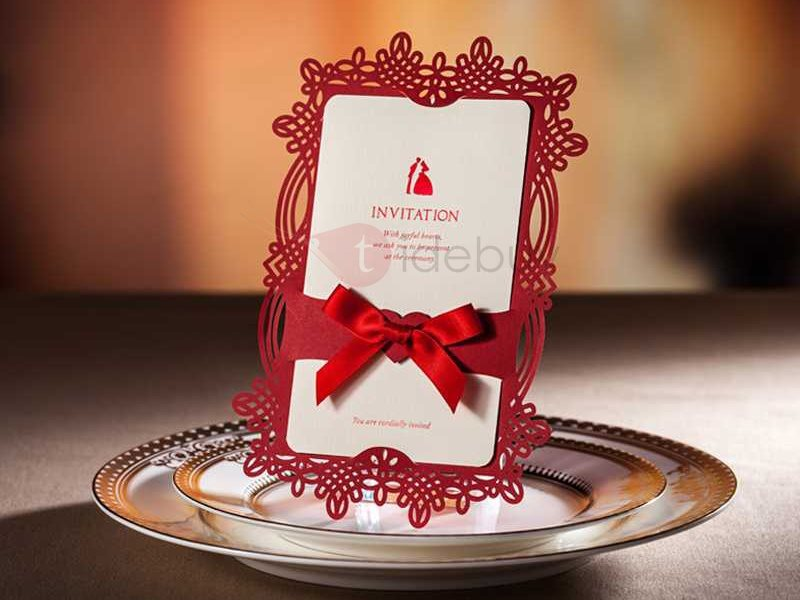Red and White Bowtie Wedding Invitations (20 Pieces One Set)