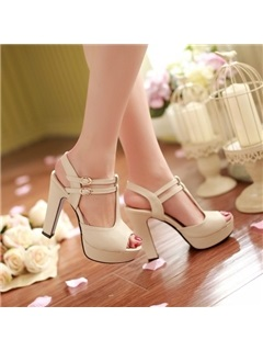 Solid Color Peep-Toe Sandals