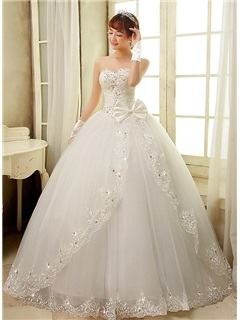 Strapless Sweetheart Ruched Beaded Corset Lace Appliques Bowknot Ball Gown Wedding Dress 15