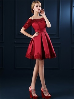 Fancy Off the Shoulder Half Sleeves Appliques Short Cocktail Dress