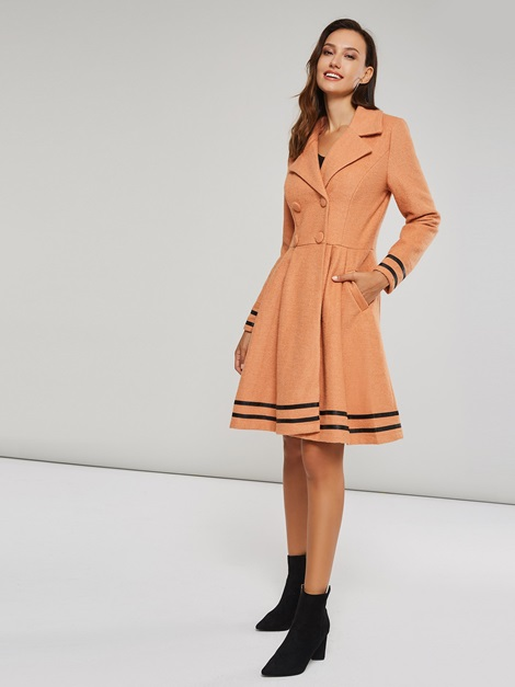 Stylish Stripe Decoration Hem Trench Coat