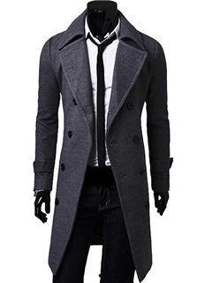 Solid Color Men's Double Breasted Topcoat