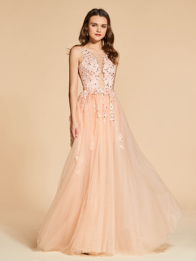 A-Line Scoop Appliques Crystal Backless Evening Dress