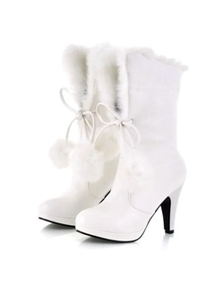 Pompom PU Lace-Up Ankle Boots