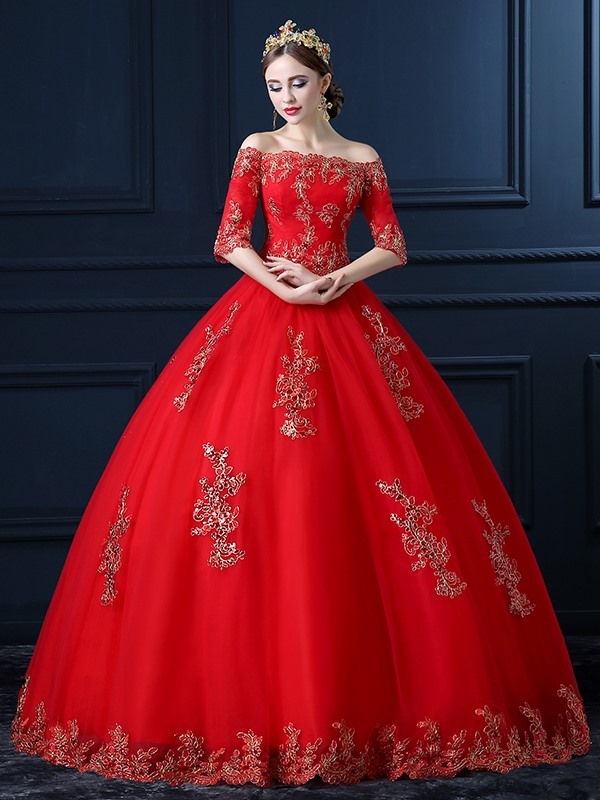 Red Wedding Dresses with Sleeves