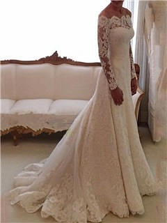 Off the Shoulder Buttoned Lace Wedding Dress with Long Sleeve