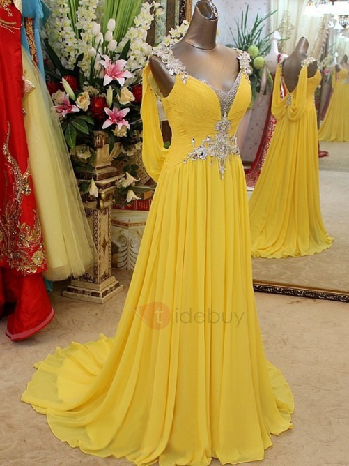 A-Line Straps Beading Crystal Evening Dress