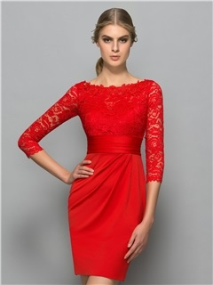 Classy 3/4 Length Sleeves Lace Red Cocktail Dress 7