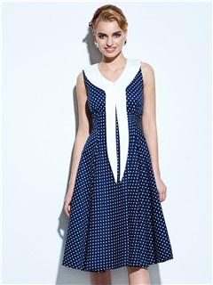 Vintage Polka Dots Sleeveless Skater Dress with Bowknot