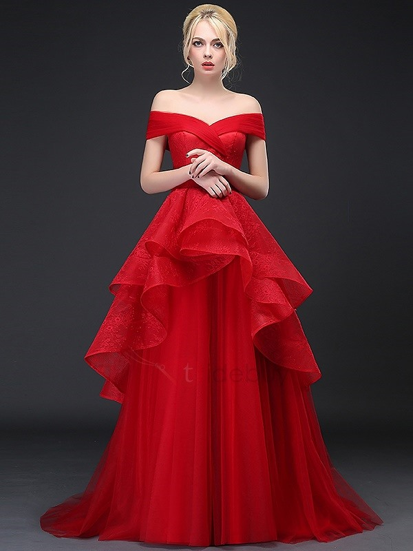 Dramatic Off the Shoulder Tiered Ruffles Lace Evening Dress