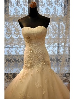 Sexy Ruched Beaded Sweetheart Lace Appliques Trumpet Wedding Dress