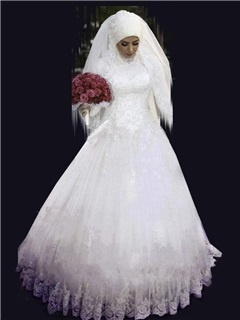 Beaded High Neck Appliques Muslim Wedding Dress 1