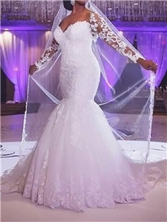 Lace Long Sleeves Mermaid Plus Size Wedding Dress 30
