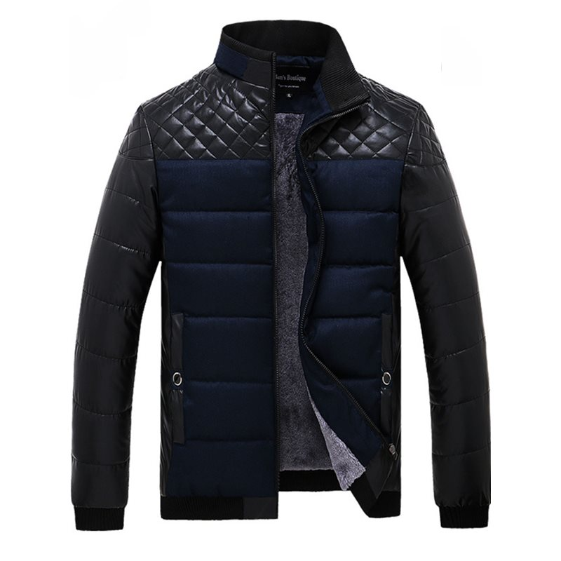 Chest Patchwork Stand Collar Mens Winter Coat