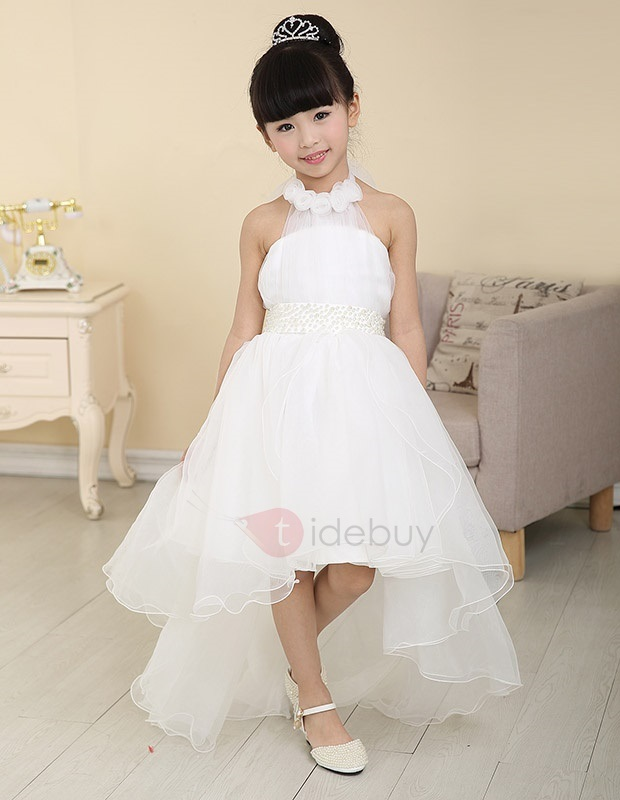 Cute Ruffles Floral Halter Asymmetry Flower Girl Dress
