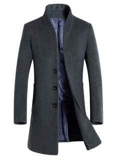 Stand Collar Single-Breasted Men's Long Woolen Coat