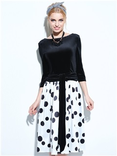 Backless Polka Dots 3/4 Sleeve Skater Dress