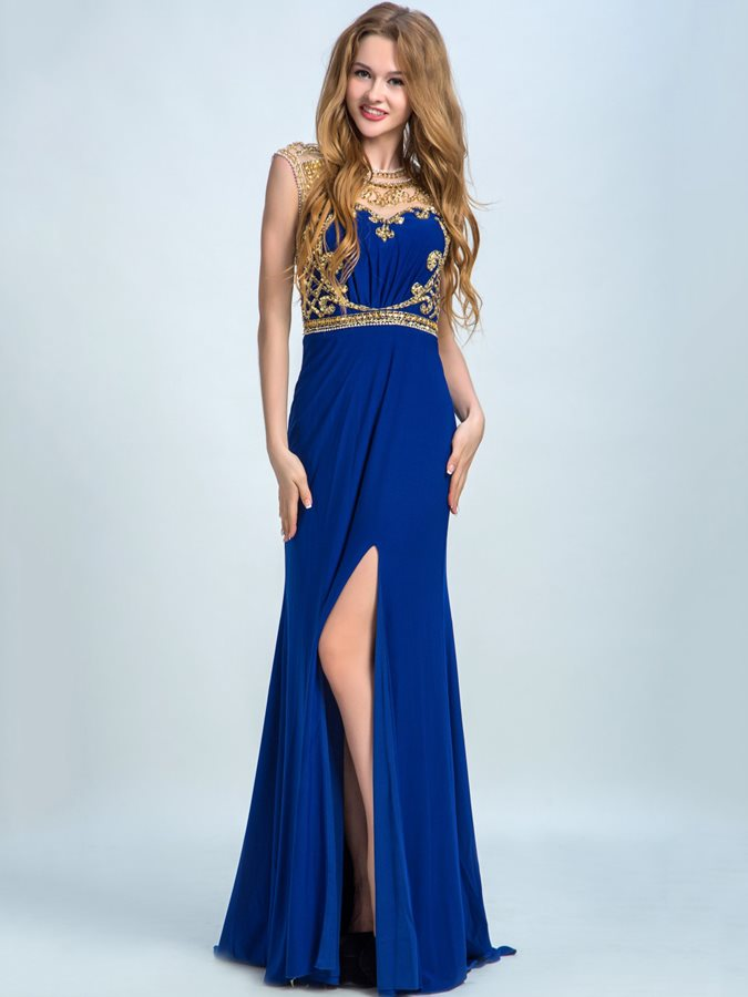 Attractive Jewel Neck Beading Split Front Long Prom Dress Tidebuy