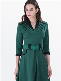 Vintage Contrast Color Belt Skater Dress