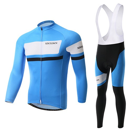 Blue Polyester Men's Winter Bike Outfit