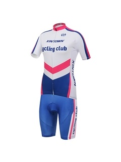 Letters-Print Full-Zip Bike Jersey And Shorts