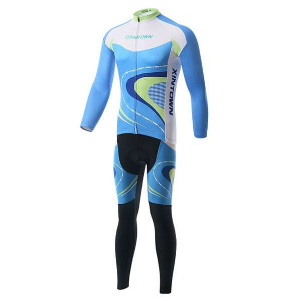 Polyester Blue Long-Sleeve Jersey And Pant