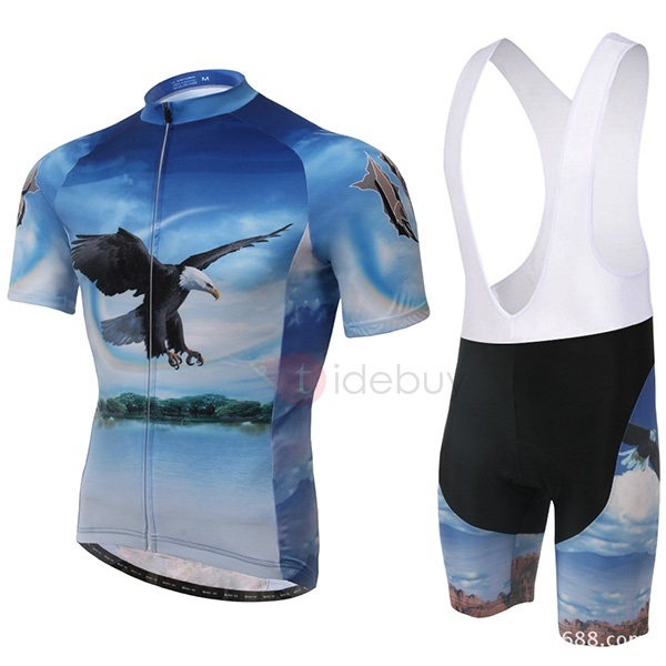 Polyester Journey-Print Cycle Jersey And Bib Shorts
