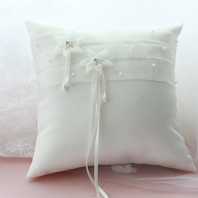 Beading Floral White Organza Wedding Ring Pillow