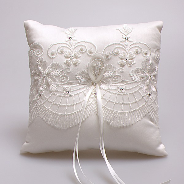 Beading Lace Ivory Wedding Ring Pillow
