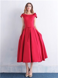Simple Scoop Neck Bowknot Pockets Tea-Length Prom Dress