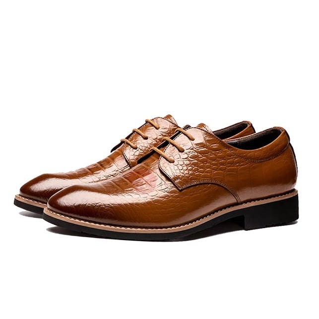 Image of Embossed PU Square Heel Dress Shoes for Men