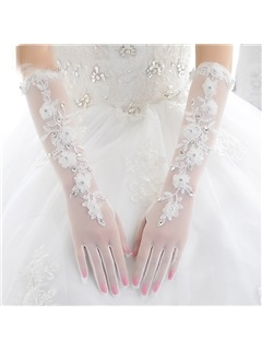 Lace Border White Tulle Wedding Gloves