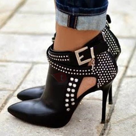 Studded Pointed Toe Stiletto Heel Booties