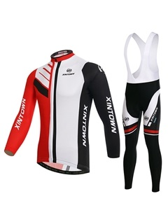 Multi-Color Long-Sleeve Cycle Jersey And Bib Tights