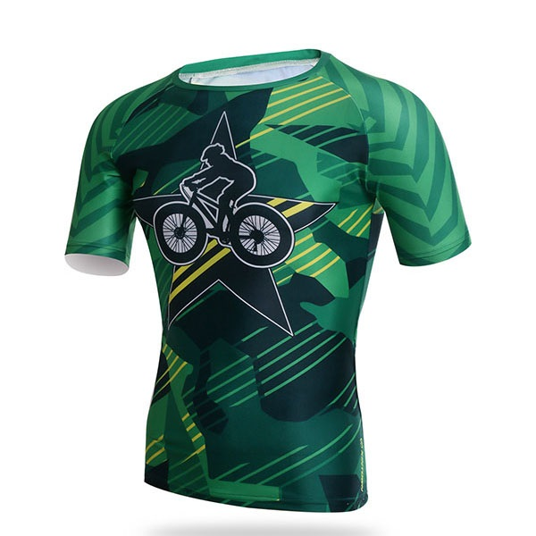 Star And Biker-Print Short-Sleeve Men's Cycle Jersey
