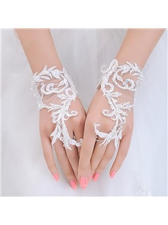 Lace Appliques Fingerless Wedding Gloves