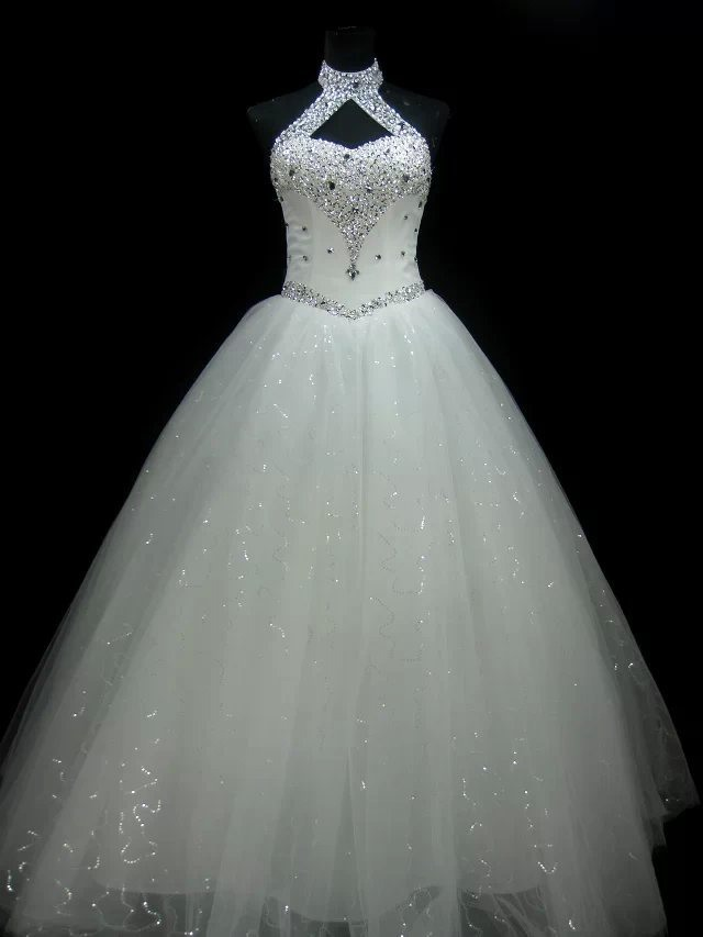 Luxurious Halter Sequins Beaded Ball Gown Wedding Dress tidebuy