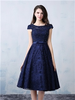 Cool Scoop Neck Beading Knee-Length Lace Cocktail Dress