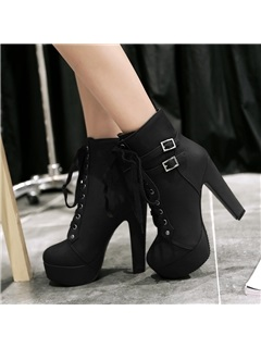 PU Buckles Platform Lace-Up Ankle Boots 10