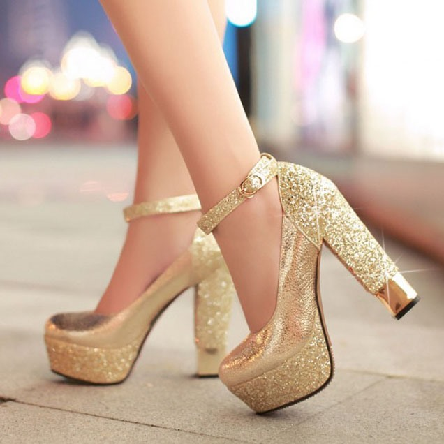 Купить со скидкой Sequins Chunky Heel Ankle Strap Prom Shoes