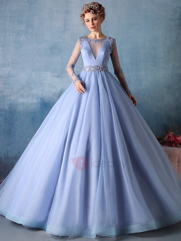 Vintage Long Sleeves Beading Long Ball Gown Dress : Tidebuy.com