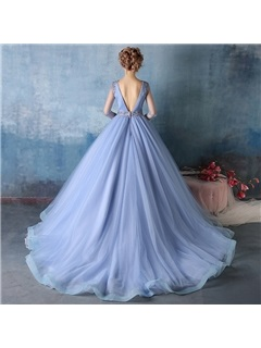 Vintage Long Sleeves Beading Long Ball Gown Dress