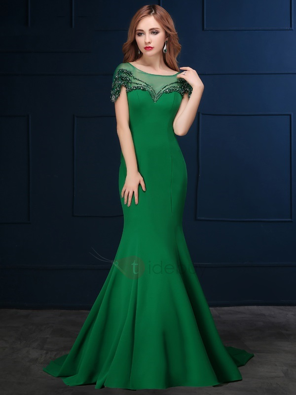 Vintage Cap Sleeve Beading Bowknot Mermaid Evening Dress